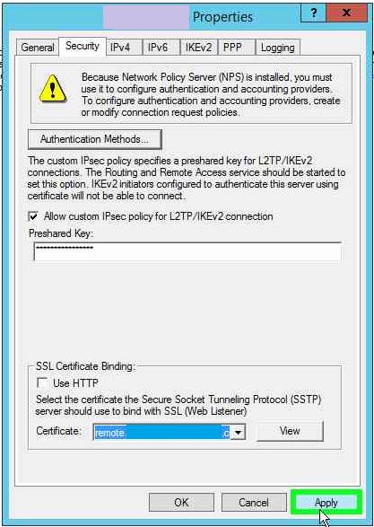 Error when selecting new SSL certificate for SSTP VPN in RRAS – Web